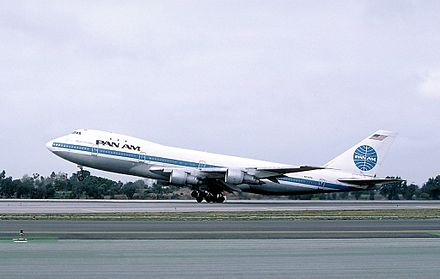 "N739PA as Clipper Maid of the Seas at Los Angeles International Airport in 1987. The explosion occurred almost directly under the ""P"" in ""Pan Am"" on this side of the fuselage. Boeing 747-121, Pan American World Airways - Pan Am AN0076297.jpg"