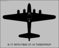 Boeing B-17 testbed for Pratt & Whitney XT-34 turboprop top-view silhouette.png