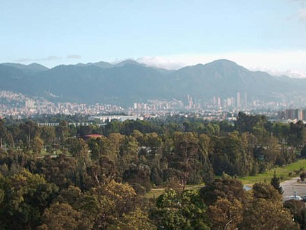 Bogota, Colombia is located in a high plateau, over 8,600 ft (2,600 m) high Bogota Centro.jpg