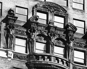 Book Tower - Image: Book Tower Caryatids