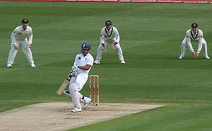 Ravi Bopara - Bopara getting hit in the throat by a bouncer during the first Test of the 2009 Ashes series at the SWALEC Stadium.