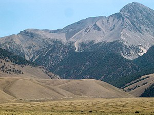 1983 Borah Peak earthquake - Borah Peak with fault scarp seen   near base of tan hill in foreground