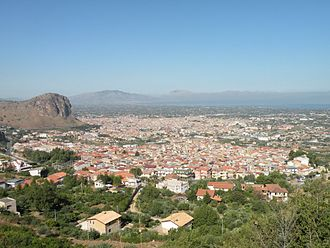Partinico - Partinico in the center of the photo with Borgetto in the foreground