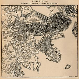 Calf Pasture Pumping Station Complex - Map showing all ground in Boston occupied by buildings in 1880. Columbia Point is in the center near bottom with two roads going out to the pumping station and calf pasture. From U.S. Census Bureau.