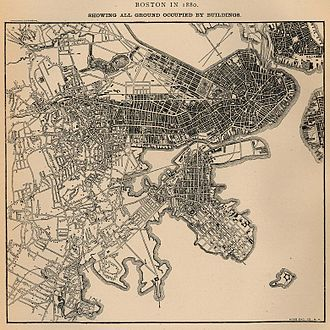 Columbia Point, Boston - Map showing all ground in Boston occupied by buildings in 1880. Columbia Point is in the center near bottom with two roads going out to the pumping station and calf pasture. From U.S. Census Bureau.
