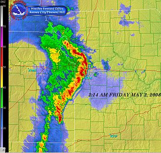 Tornado outbreak of May 1–2, 2008 - Radar image of the bow echo crossing Kansas City just after 2:00 am CDT