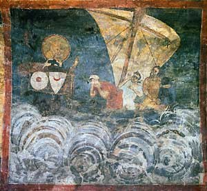 Medieval Bulgarian navy - A ship depicted in a fresco in the medieval Boyana Church, Sofia