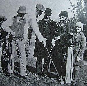 Constantin Brâncuși - Brâncuși (left) with Henri-Pierre Roché, Erik Satie and Jeanne Robert Foster playing golf in 1923