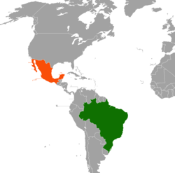 Map indicating locations of Brazil and Mexico