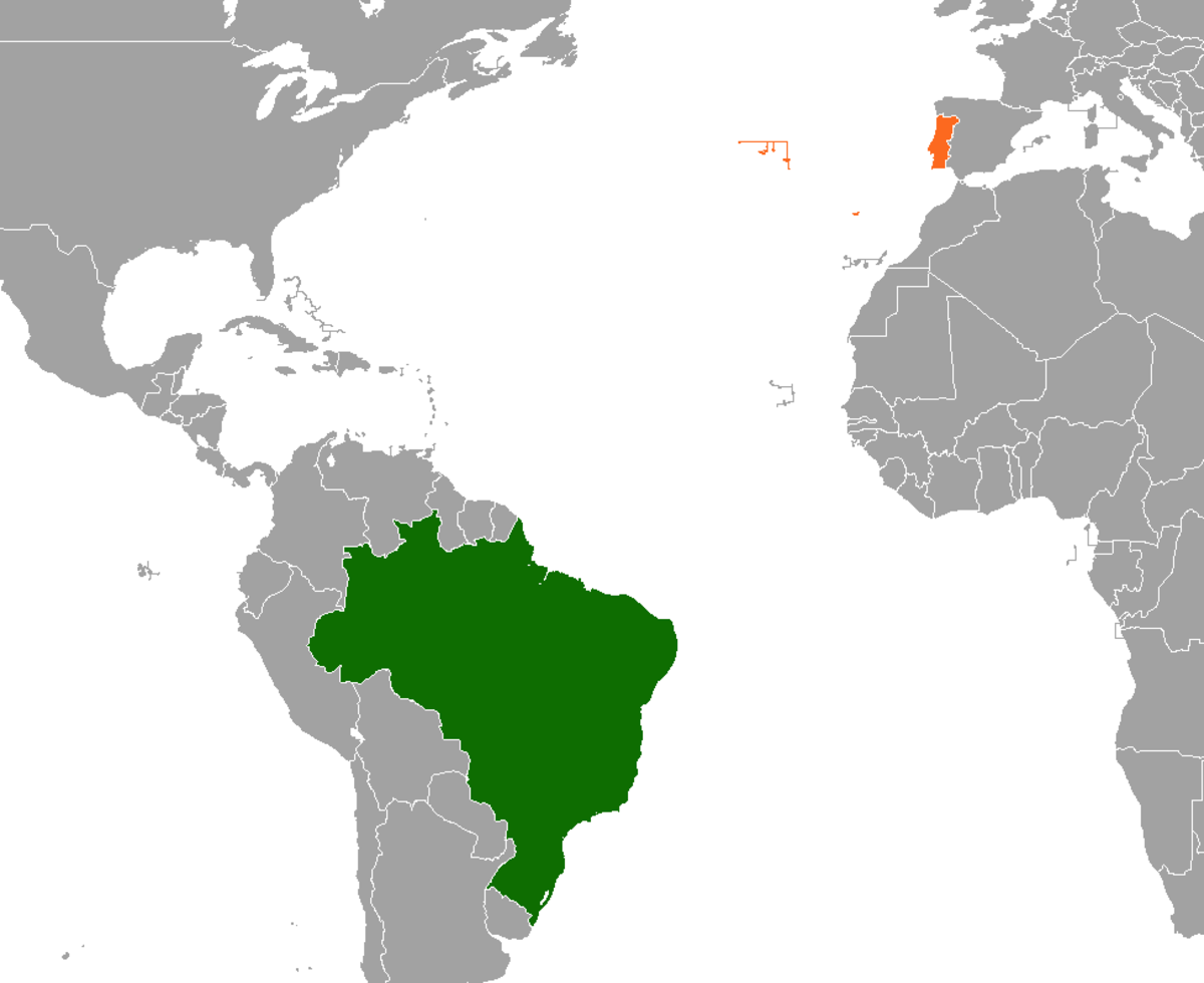 BrazilPortugal Relations Wikipedia - Portugal map in world map