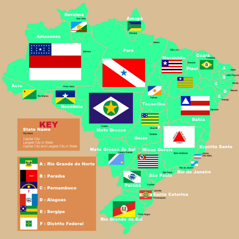 Brazilian State Map with Capitals and Flags