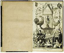 Gockel, Hinkel und Gackeleia, lithographiertes Titelblatt des Erstdrucks von 1838 (Quelle: Wikimedia)