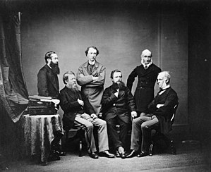 Edward Thornton, 2nd Count of Cacilhas - British High Commissioners for the 1871 Treaty of Washington. Sir Edward Thornton seated to the right.