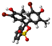 Ball-and-stick model of the bromocresol purple molecule in cyclic form
