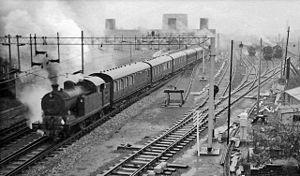 Broxbourne railway station - View northward, towards Cambridge in 1960
