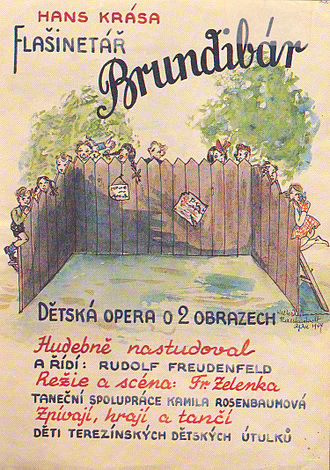 Brundibár - Poster for a performance of Brundibár, Theresienstadt, 1944.