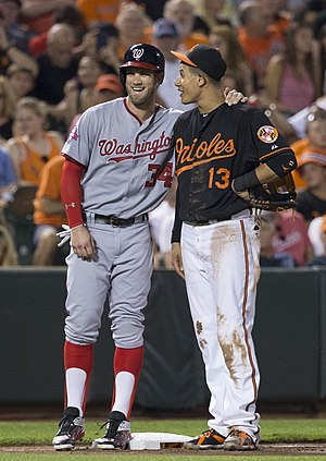 2010 Major League Baseball draft - Image: Bryce Harper and Manny Machado on July 10, 2015