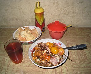Bubur ayam - Image: Bubur Ayam Eggs Satay