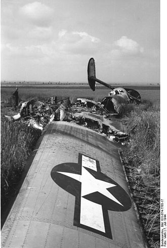 Jagdgeschwader 3 - Downed Consolidated B-24 Liberator of the 492nd Bomb Group after an aerial battle over Oschersleben on 7 July 1944