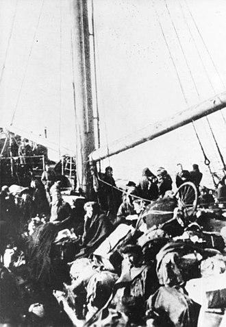 Evacuation of East Prussia - Refugees on a ship near Pillau