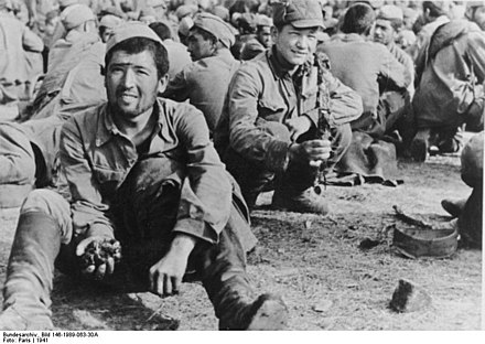 Soviet POWs in Zhitomir on 24 July 1941. Bundesarchiv Bild 146-1989-063-30A, Russland, russische Kriegsgefangene.jpg
