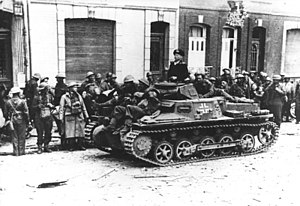 Battle of Dunkirk - British prisoners of war with a PzKpfw Ib German tank