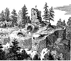 Burgruine Mitterberg im Jahre 1673