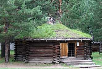 Buryats - Traditional wooden hut of Buryatia