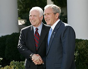 John McCain presidential campaign, 2008 - President George W. Bush endorsing Senator McCain at the White House March 5, 2008, following McCain's March 4 primary victory.