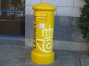 Postage stamps and postal history of Andorra - An Andorran post box