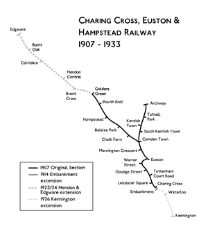 Route map of the Charing Cross, Euston and Hampstead Railway.