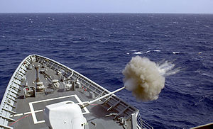USS Yorktown (CG-48) - Yorktown firing at a target drone during a gun exercise