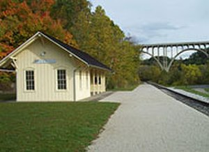 Cuyahoga Valley Scenic Railroad - CVSR Brecksville Station, set against the scenic Route 82 bridge over the Cuyahoga River Valley, is one of several stations modeled after historic train stations within Cuyahoga Valley National Park.