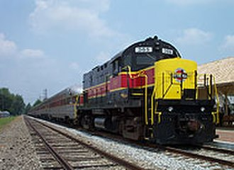 Cuyahoga Valley Scenic Railroad - CVSR engine 365 sits at the Canton Lincoln Highway Station.