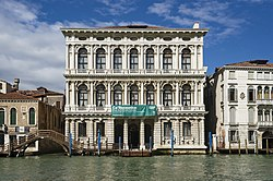 The White marble façade of Ca' Rezzonico on the Grand Canal