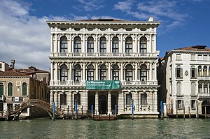 Ca' Rezzonico - The White marble façade of Ca' Rezzonico on the Grand Canal