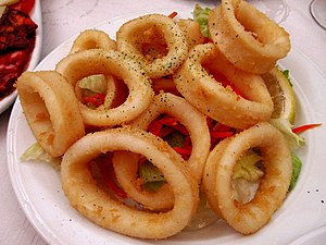 Squid as food - Fried calamares from Spain