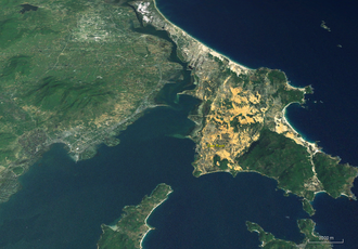 Cam Ranh Bay - Cam Ranh Bay as seen from a Landsat image with an elevation model.