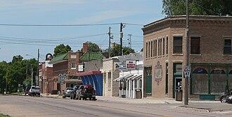 Cambridge, Nebraska - Cambridge looking west along Nasby Street (U.S. Highway 6/U.S. Highway 34)