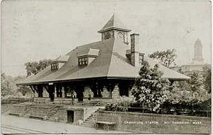 Porter (MBTA station) - Second station, built in 1897, on a postcard sent in 1911
