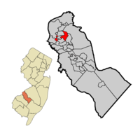Haddon Township highlighted in Camden County. Inset: Location of Camden County in New Jersey.