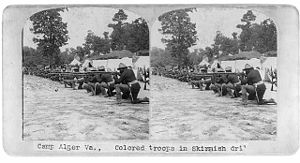 Camp Alger - 9th Battalion Ohio V. I Colored troops in skirmish drill,Camp Alger, Va.