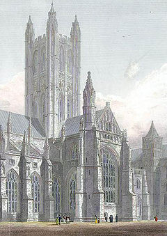 Canterbury Cathedral, Central Tower, South Transept &c. engraved by J.LeKeux after a picture by G.Cattermole, 1821 edited.jpg