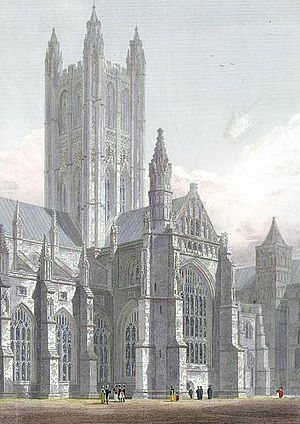 Crossing (architecture) - Image: Canterbury Cathedral, Central Tower, South Transept &c. engraved by J.Le Keux after a picture by G.Cattermole, 1821 edited