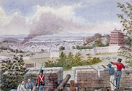 Sketch of British soldiers occupying the high ground above Canton in 1841. Canton from the Heights.jpg