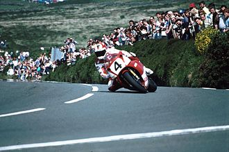 Carl Fogarty - 'Foggy' on his Yamaha at Creg-ny-Baa on the Isle of Man.