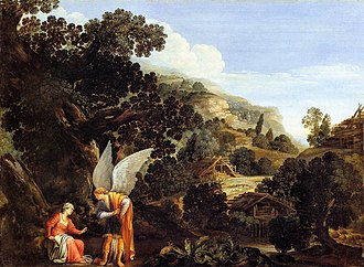 Oil on copper - Image: Carlo Saraceni An Angel Appearing to the Wife of Manoah WGA20826