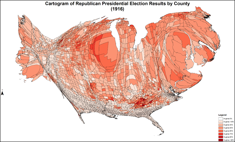 CartogramRepublicanPresidentialCounty1916Colorbrewer.png