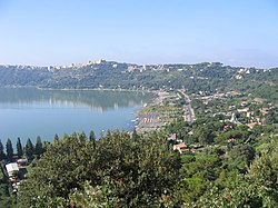 The town of Castel Gandolfo overlooking Lake Albano