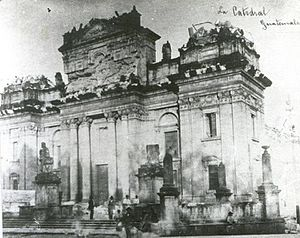 1917 Guatemala earthquake - Guatemala City Cathedral after the earthquakes